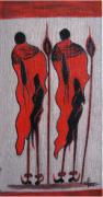 tableau personnages artiste toile pienture huile : Massaï