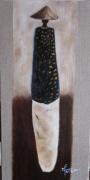 tableau personnages peinture huile toile artiste : Charme d'Afrique