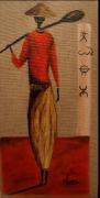 tableau personnages artiste toile huie peinture : Charme d'Afrique