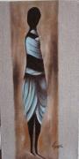tableau personnages artriste huile peinture toile : Charme d'Afrique 2