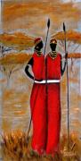tableau personnages toile peinture artiste huile : Couple Massaï