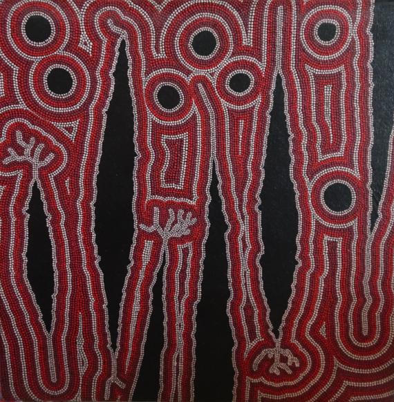 TABLEAU PEINTURE pointillisme aborigène tribal Abstrait Acrylique  - Marmots du Square Jules Ferry