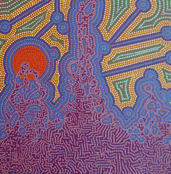 TABLEAU PEINTURE Pointillisme Abstrait Acrylique  - Alfie
