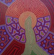 tableau abstrait pointillisme vert : Lever de la Verge Verte