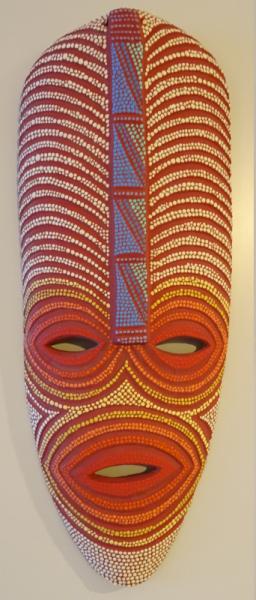 ARTISANAT D'ART masque pointillisme Afrique tribal  - En Attendant l'Autobus