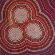 tableau abstrait pointillisme : Trio d'Oyas