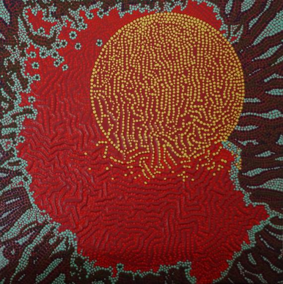 TABLEAU PEINTURE pointillisme Abstrait Acrylique  - Couvre-Feu