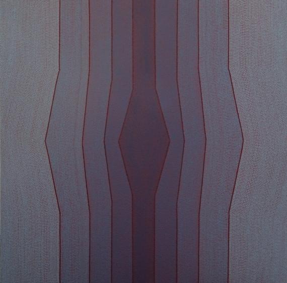 TABLEAU PEINTURE Pointillisme Bleu Abstrait Acrylique  - Chapelle Bleue