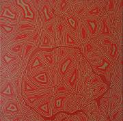 tableau abstrait pointillisme tribal rouge : La Filière et les Éponges