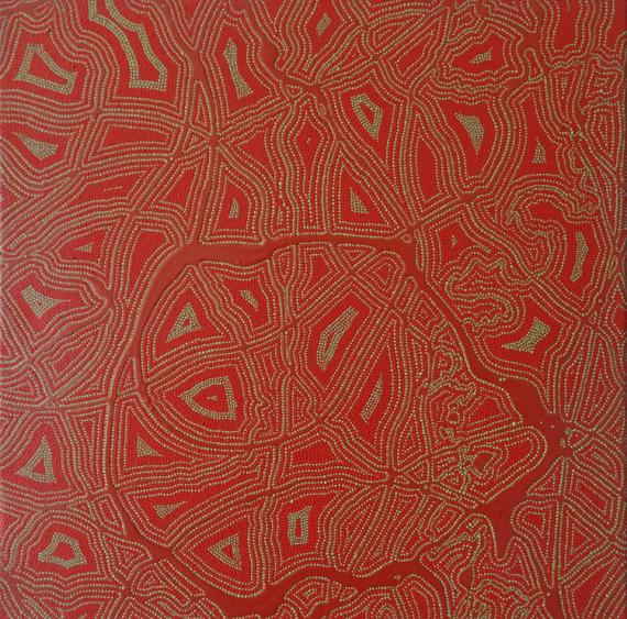 TABLEAU PEINTURE pointillisme tribal rouge Abstrait Acrylique  - La Filière et les Éponges