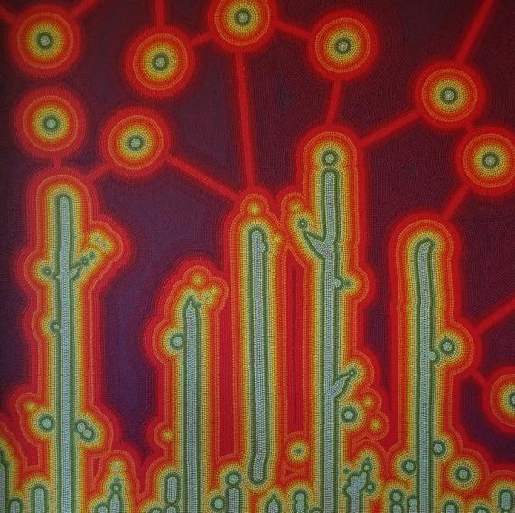 TABLEAU PEINTURE pointillisme Abstrait Acrylique  - Kerlud