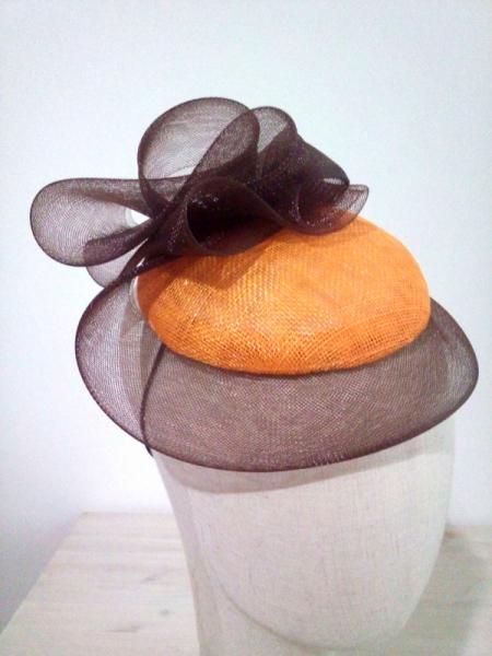 ARTISANAT D'ART cérémonie accessoire femme matières naturelles artisanat  - accessoire orange /marron en crin et sisal