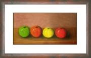 tableau fruits naturemorte fruits pommes quatres : Les 4 pommes