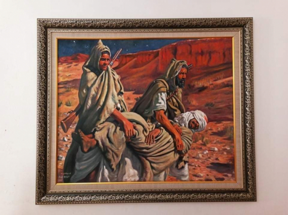 TABLEAU PEINTURE Orientaliste Étienne dinet peinture bousaada Personnages Acrylique  - Etienne Dinet / The wounded( l'homme blessé )