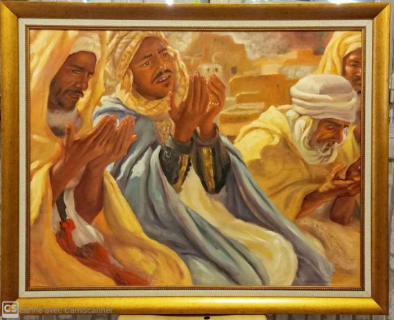 TABLEAU PEINTURE Étienne dinet bousaaada tableaux de peinture acrylique sur toile Personnages Acrylique  - La prière dans la mosquée