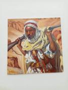 tableau scene de genre guerre etienne dinet bousaaada acrylique sur toile : L'homme armé bousaaada