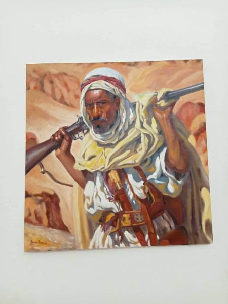 TABLEAU PEINTURE Guerre Étienne dinet bousaaada acrylique sur toile Scène de genre Acrylique  - L'homme armé bousaaada