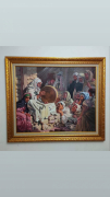 dessin personnages etienne dinet peinture acrylique sur toile bousaaada tableau de peinture decoration : Meddah ( narrateur) aveugle chantant l'épopée du Prophète Dinet