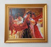 tableau personnages etienne dinet bousaada acrylique sur toile antiquite : Jeunes filles dansant et chantant lors d'un mariage ( Danseuses