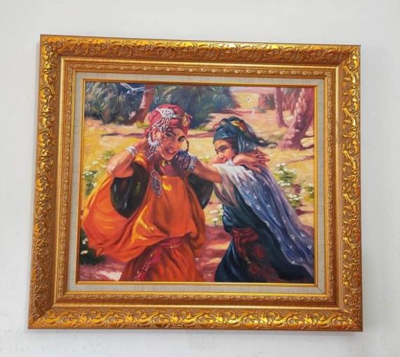 TABLEAU PEINTURE Étienne dinet bousaaada tableaux de peinture orientaliste Personnages Acrylique  - Jeunes filles dansant et chantant (La danse des foulards)