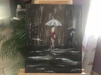Une femme sous la pluie