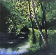 tableau paysages foret riviere nature peinture acrylique : Rivière dans la forêt
