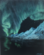 tableau paysages aurora borealis northern lights zorza polarna : Aurora borealis