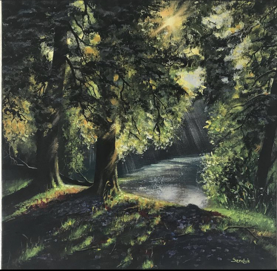 TABLEAU PEINTURE Forêt jeu de lumière nature Paysages Acrylique  - Jeu de lumière forestière