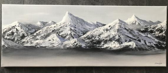 TABLEAU PEINTURE Montagnes White peaks Winter Chaîne des montagnes Paysages Acrylique  - La chaîne des montagnes