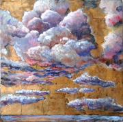 tableau paysages laque sur bois : ENTRE CIEL ET MER 2