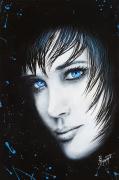tableau personnages femmes noir yeux bleu : Reflets bleus