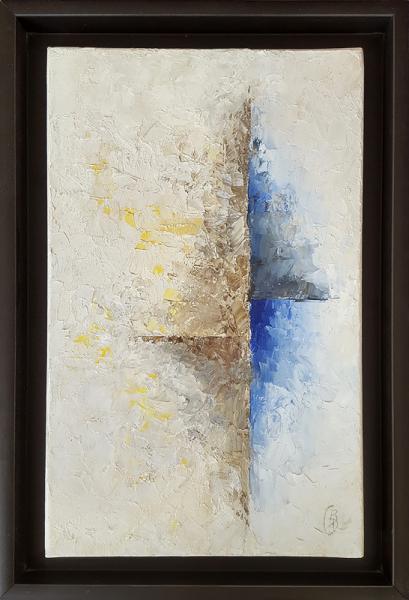 TABLEAU PEINTURE abstrait beige bleu tableau Abstrait Peinture a l'huile  - Séparation