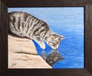 tableau animaux chat animaux tigre marron : Au bord de l'eau