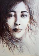 tableau personnages femme figuratif portrait visages : Mademoiselle