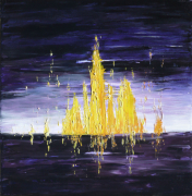 tableau abstrait abstrait violet jaune tableau : Vibrations