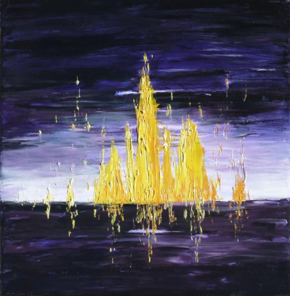 TABLEAU PEINTURE abstrait violet jaune tableau Abstrait Peinture a l'huile  - Vibrations