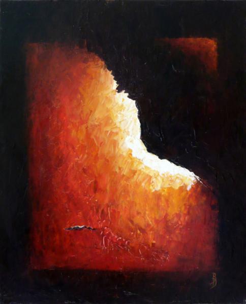 TABLEAU PEINTURE abstrait rouge orange noir Abstrait Peinture a l'huile  - Le coin cassé
