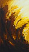 tableau abstrait abstrait jaune orange marron : Elan