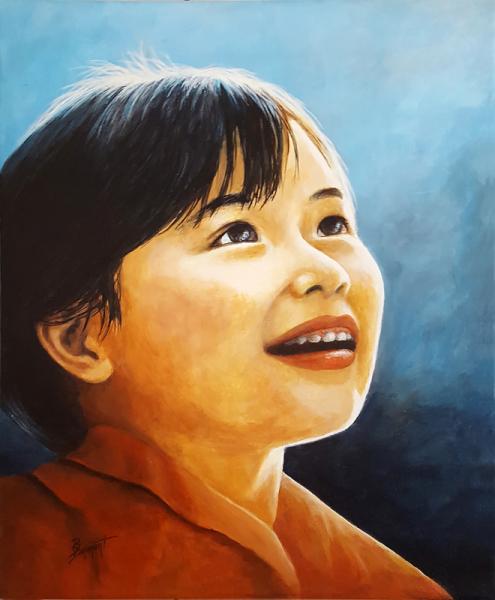 TABLEAU PEINTURE visage asie enfant lumière Personnages Acrylique  - Lumière d'Asie