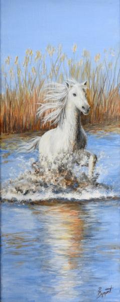 TABLEAU PEINTURE cheval animaux blanc bleu Animaux Acrylique  - Liberté