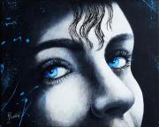 tableau personnages femmes noir yeux bleu : Suis mon regard