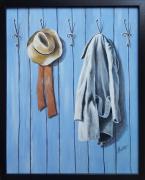tableau autres tableau bleu figuratif acrylique : Le porte-manteau