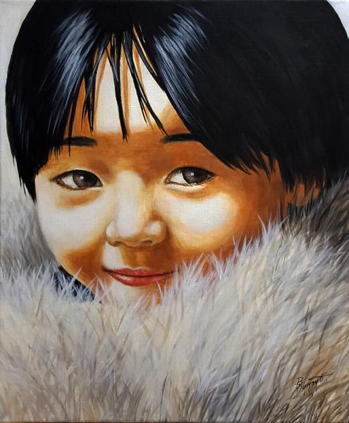 TABLEAU PEINTURE enfant inuit figuratif Personnages Acrylique  - Petite inuit