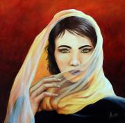 tableau personnages femmes regard figuratif voile : Les yeux verts