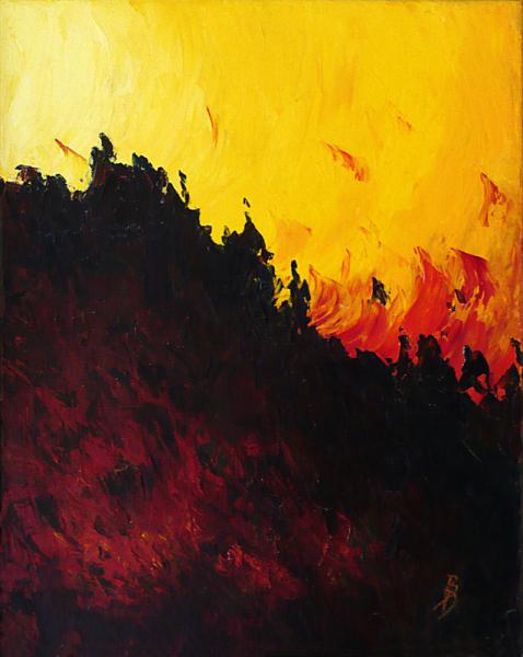 TABLEAU PEINTURE abstrait rouge orange noir Abstrait Peinture a l'huile  - Ebullition