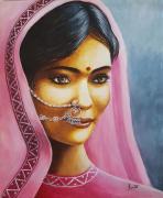painting personnages femmes inde visages rose : Charme indou