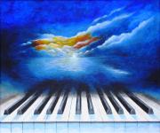 tableau paysages piano ciel bleu tableau : Inspirations
