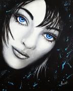 tableau personnages femmes noir yeux bleu : Vague à l'âme