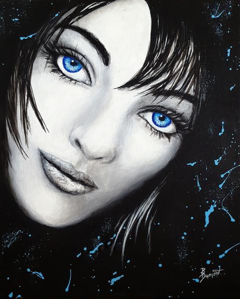 TABLEAU PEINTURE femmes noir yeux bleu Personnages Acrylique  - Vague à l'âme