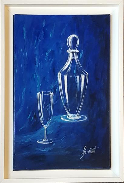 TABLEAU PEINTURE tableau carafe bleu figuratif Acrylique  - Carafe sur fond bleu